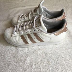Adidas Superstars tennis sneakers white Rose Gold